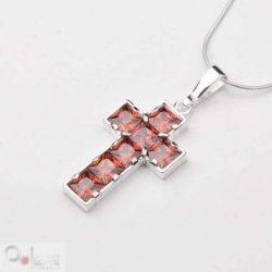 Krzyżyk srebro cyrkonia W 385 Czerwony