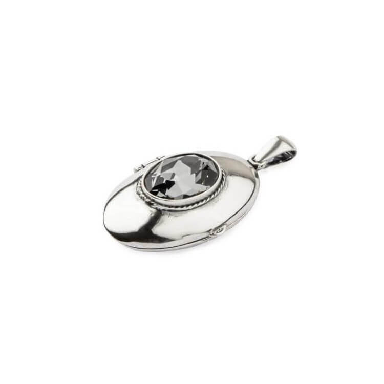 Srebrny wisiorek puzderko z kryształem Swarovskiego W 1222 Silver Night