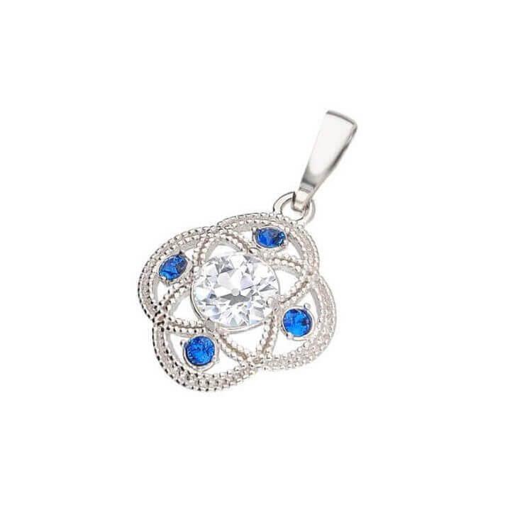 Srebrny wisiorek z cyrkonią i kryształami Swarovski Sapphire W 1878