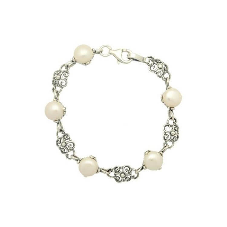 Srebrna oksydowana bransoletka z perłami L 1787