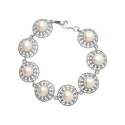 Srebrna oksydowana bransoletka z perłami L 1726