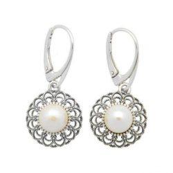 Srebrne oksydowane kolczyki z perłami K 1726