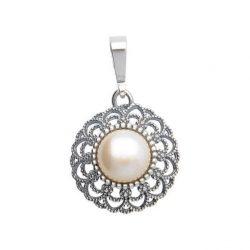 Srebrny oksydowany wisiorek z perłą W 1726