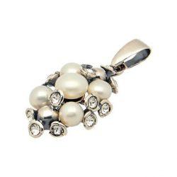 Srebrny wisiorek z perłami i kryształami Swarovskiego W 1921