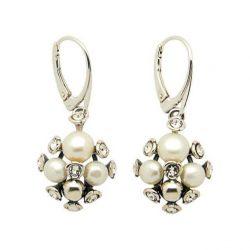 Srebrne kolczyki z perłami i kryształami Swarovskiego K 1921