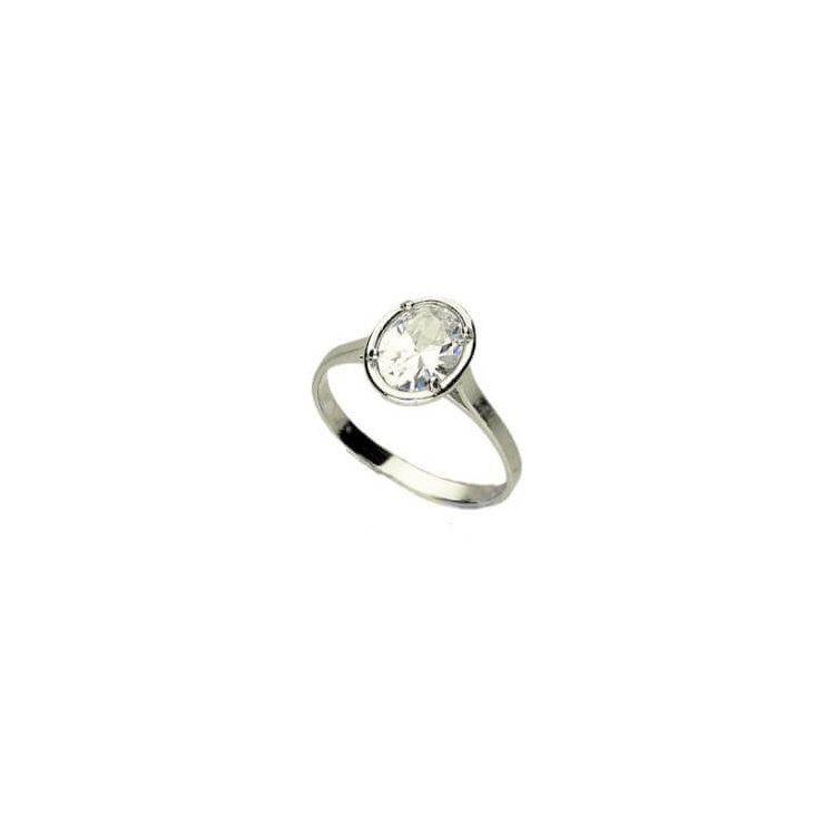 Srebrny pierścionek z białą cyrkonią PK 1891