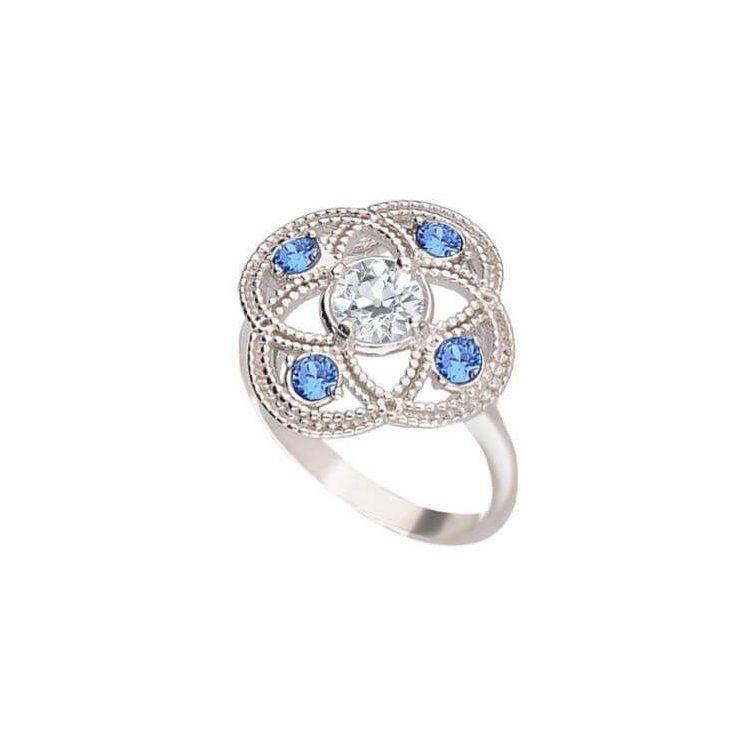 Srebrny pierścionek z białą cyrkonią i kryształami Swarovski Denim Blue PK 1878