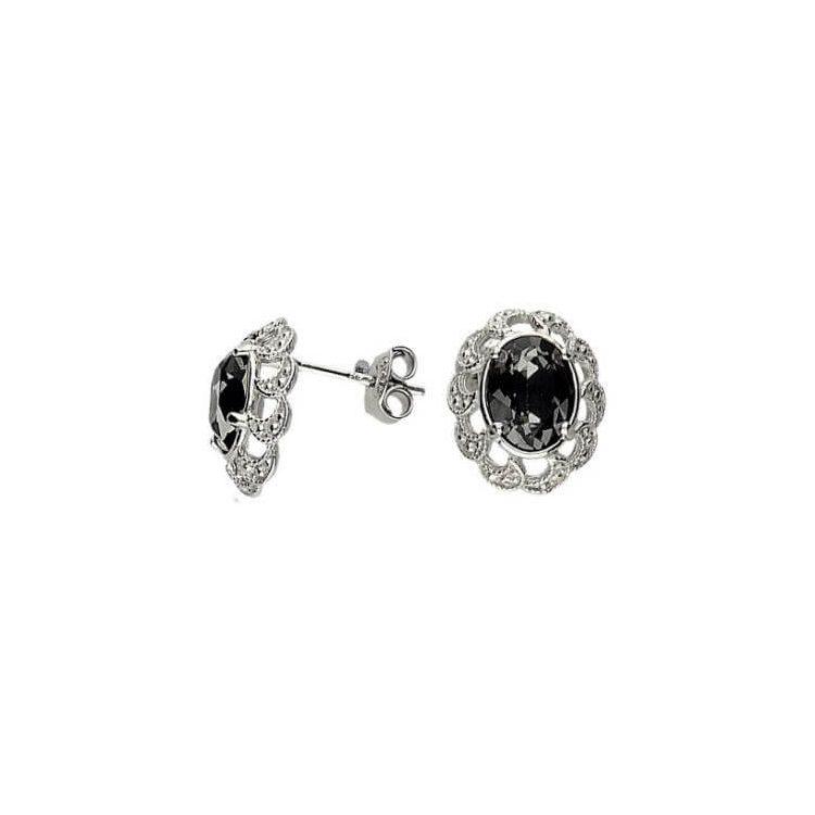 Srebrne kolczyki z kryształem Swarovskiego K2 1885 Silver Night