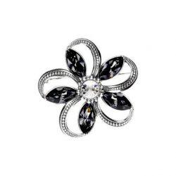 Srebrna broszka z kryształami Swarovski B 172 Silver Night