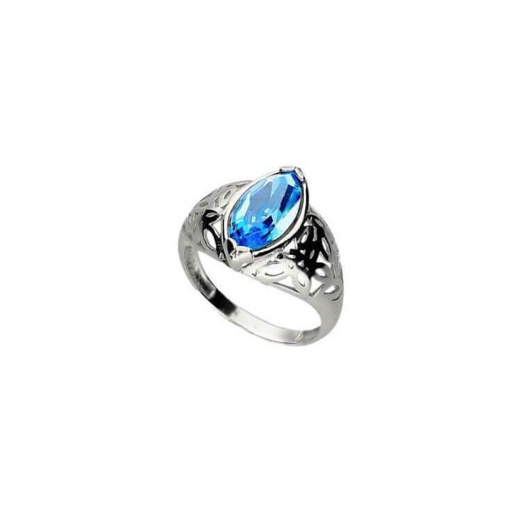 Srebrny pierścionek z kryształem Swarovski PK 1948 Aquamarine