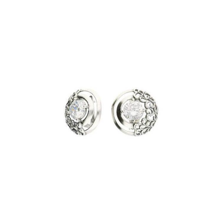 Kolczyki srebrne oksydowane z cyrkoniami K3 1964 Crystal