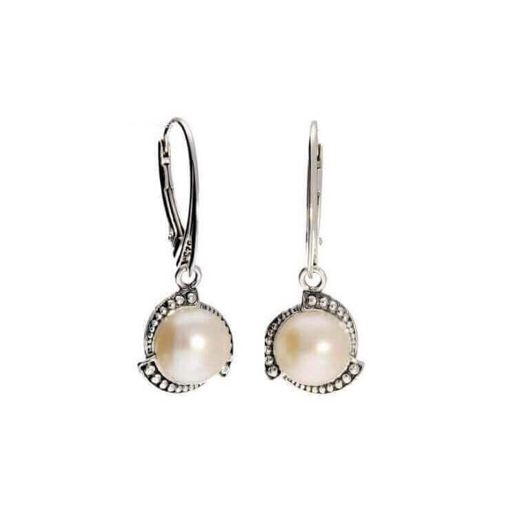 Kolczyki srebrne z perłami K 1883