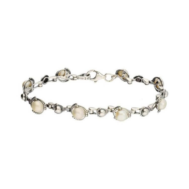Bransoletka srebrna z perłami L 1883