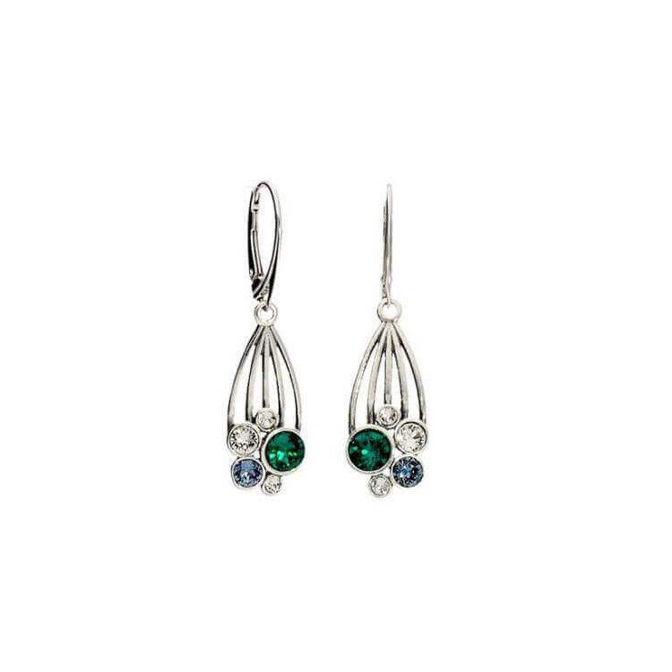 Srebrne kolczyki z kryształami Swarovski K 1963 Crystal Emerald Denim Blue