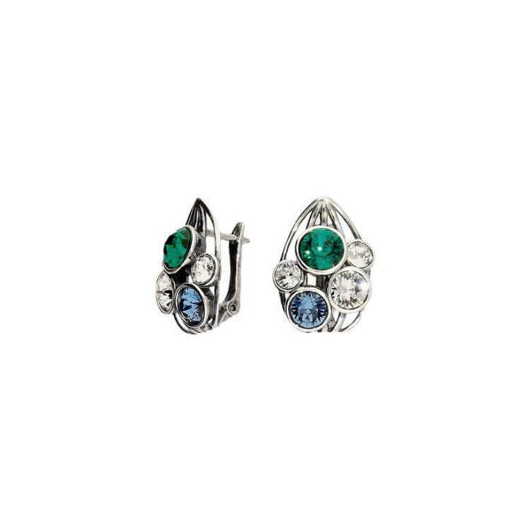Srebrne kolczyki z kryształami Swarovski K3 1963 Crystal Emerald Denim Blue