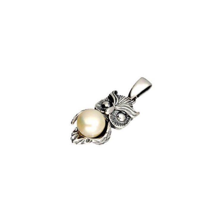 Srebrny wisiorek z białą perłą SOWA W 1241