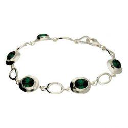 Bransoletka srebrna z kryształami Swarovskiego L 1860 Emerald