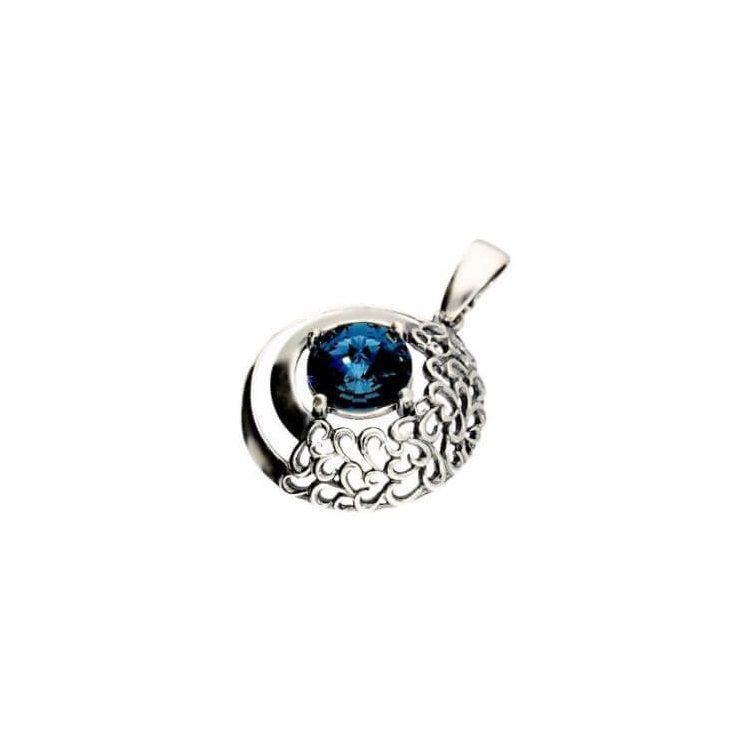 Wisiorek srebrny oksydowany z kryształem Swarovski W 1964 Montana