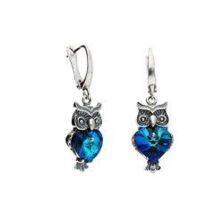 Srebrne kolczyki z kryształami Swarovskiego SOWA K2 1702 Bermuda Blue