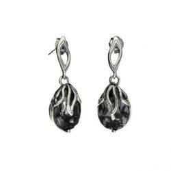Kolczyki srebrne z kryształami Swarovskiego K 1643 Silver Night Sztyft