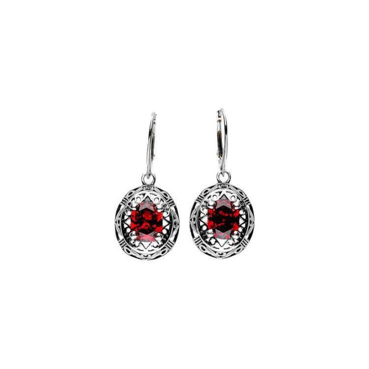 Kolczyki srebrne z cyrkoniami K 1569 Czerwony