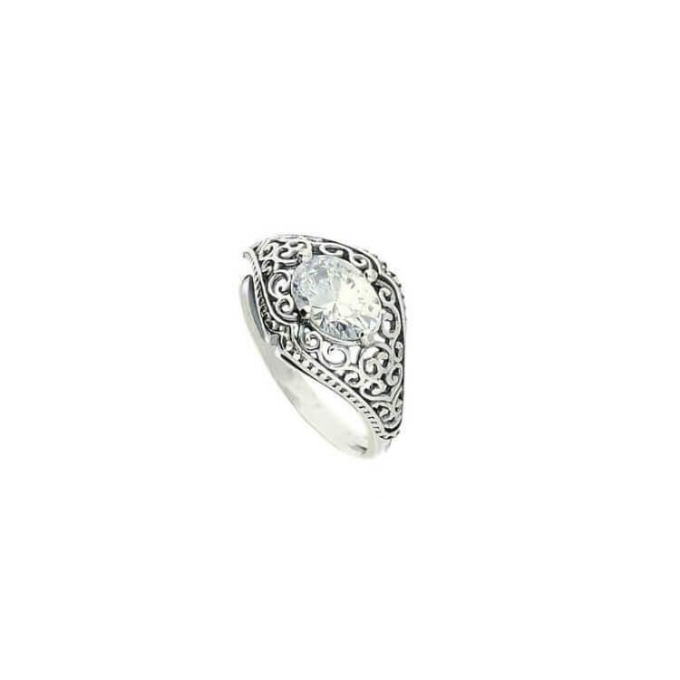 Srebrny pierścionek z cyrkonią PK 1995 Biały