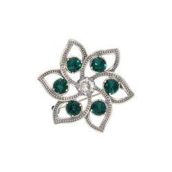 Broszka z kryształem Swarovski Kwiat B 173 Emerald Crystal