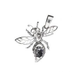 Srebrny wisiorek z kryształami Swarovskiego Ważka W 1274 Silver Night