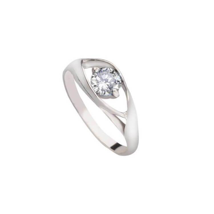 Srebrny pierścionek z cyrkonią PK 2011 Biały