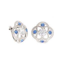 Srebrne kolczyki z cyrkonią i kryształami Swarovski Denim Blue K3 1878