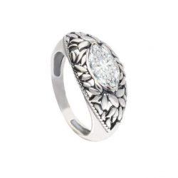 Srebrny pierścionek z cyrkonią PK 1937 Biały