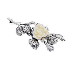 Broszka srebrna Biała Róża B 74