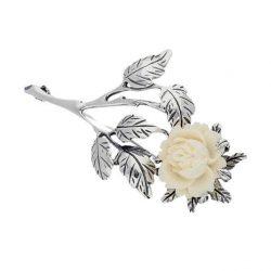 Broszka srebrna Biała Róża B 75