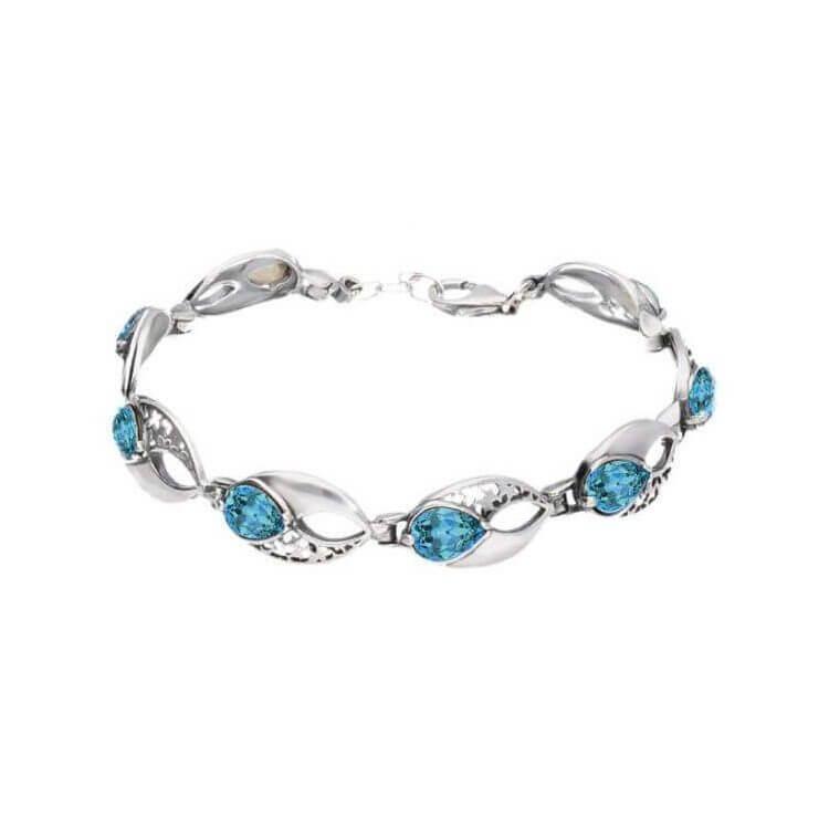 Srebrna bransoletka z kryształami Swarovski L 1949 Aquamarine