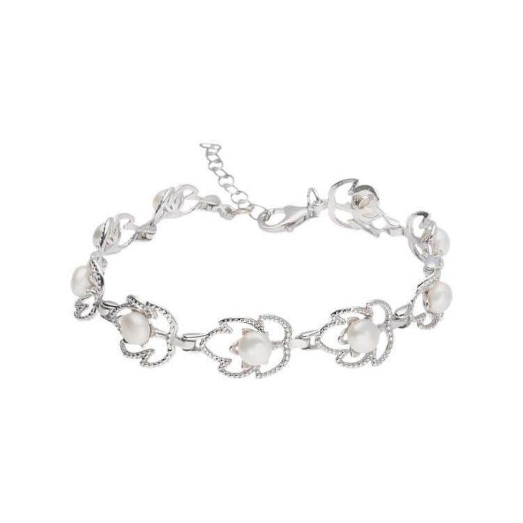Srebrna rodowana bransoletka z perłami L 1956