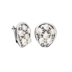 Srebrne kolczyki z perłami i kryształami Swarovskiego K3 1959
