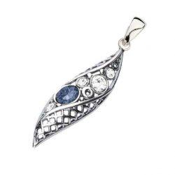 Srebrny oksydowany wisiorek z kryształami Swarovski W 1966 Denim Blue