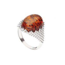 Srebrny pierścionek PK 2022 bursztyn