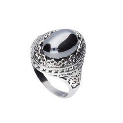 Srebrny oksydowany pierścionek z krzemem PK 2023 krzem