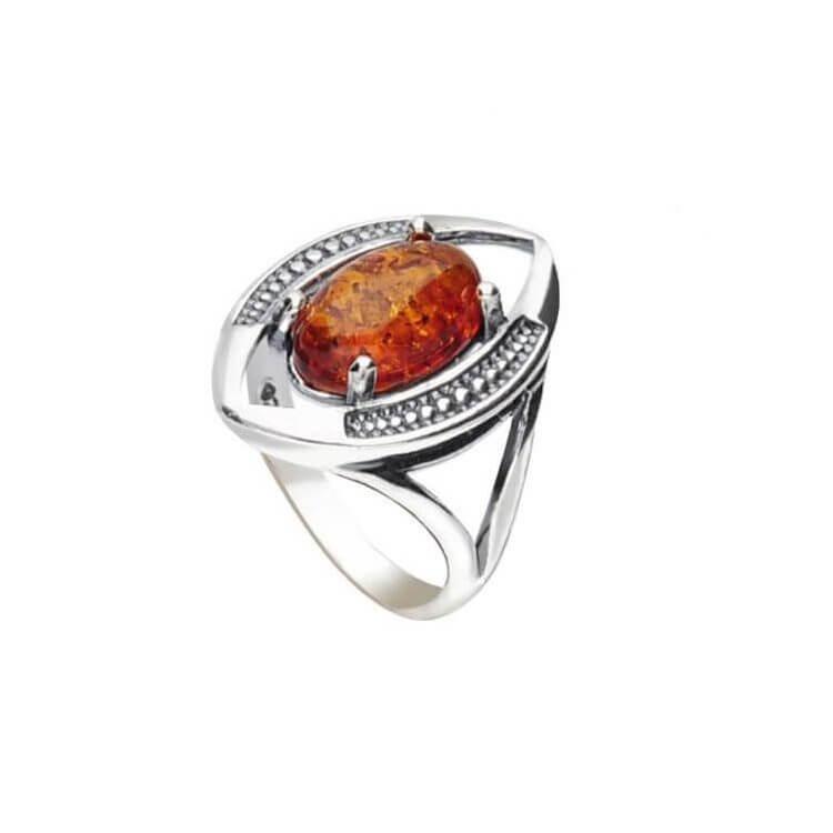 Srebrny pierścionek z koniakowym bursztynem PK 2031 bursztyn