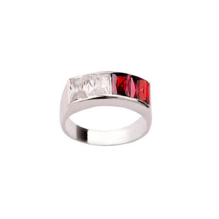 Pierścionek srebro cyrkonie PK 673 Biało-czerwone
