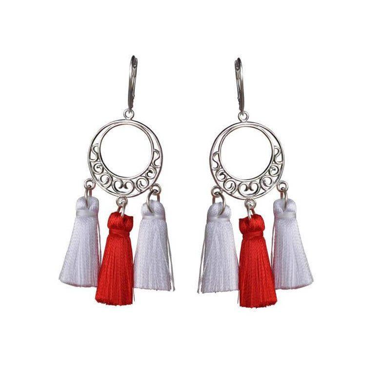 Srebrne kolczyki frędzle / miotełki / chwost K 3002 biało-czerwone