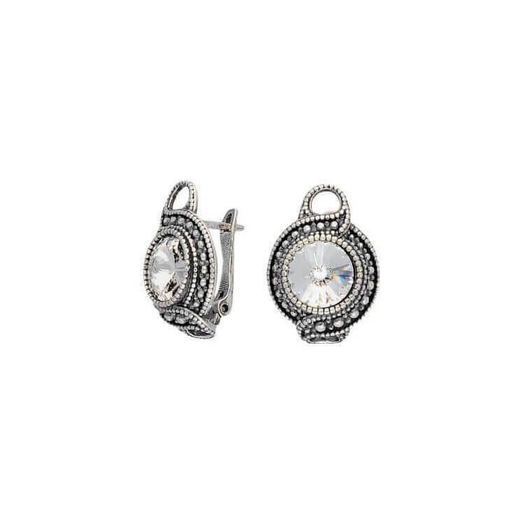 Srebrne kolczyki z kryształem Swarovskiego K3 1897