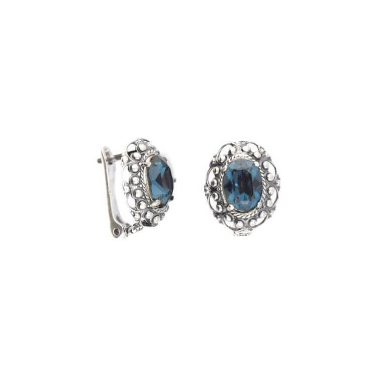 Srebrne kolczyki z kryształem Swarovski Oval K3M 1727