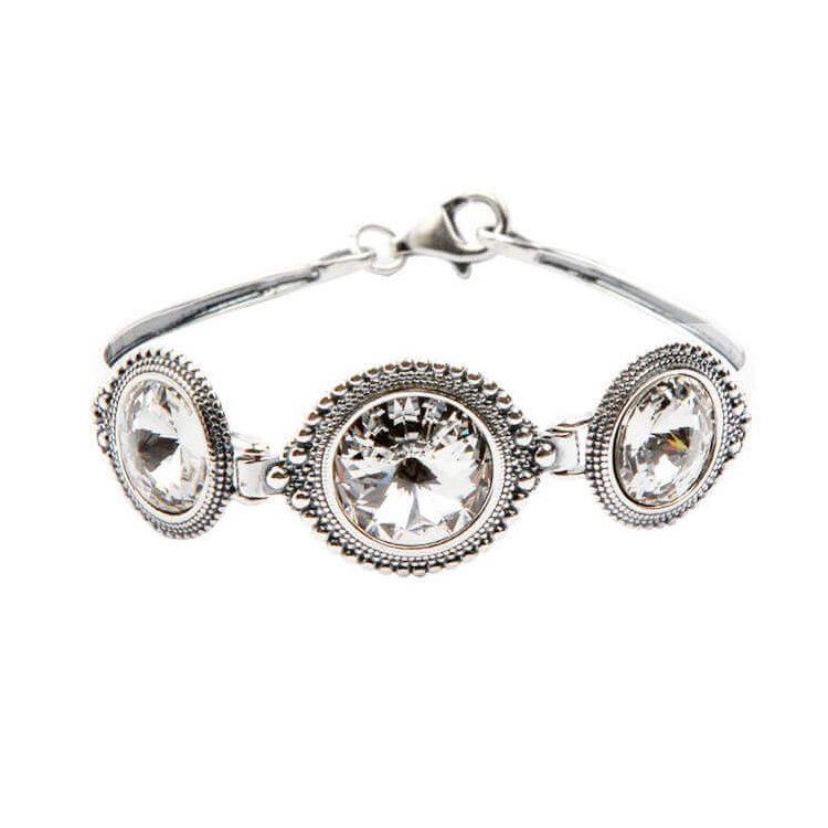Bransoletka srebrna z kryształami Swarovskiego R 1682