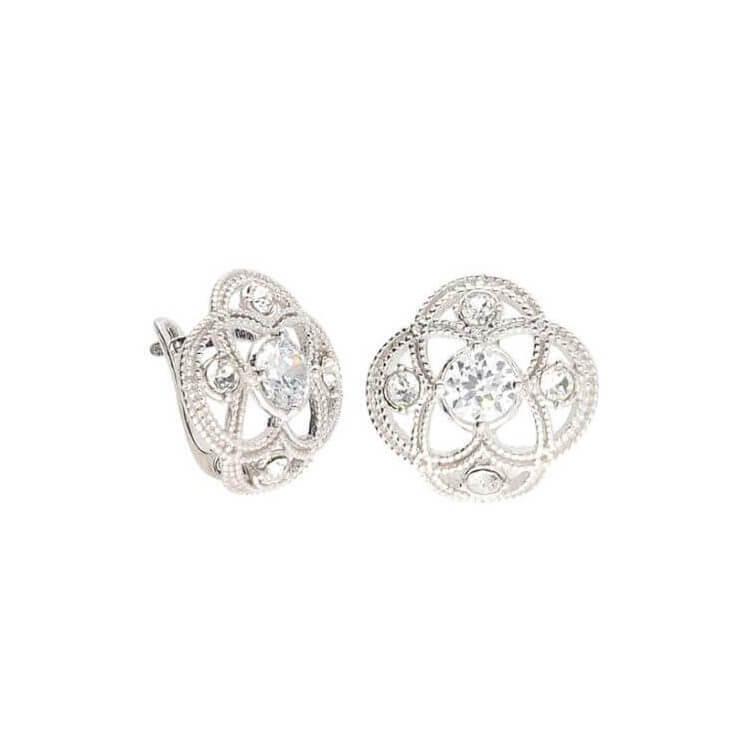 Srebrne kolczyki z cyrkonią i kryształami Swarovski K3 1878