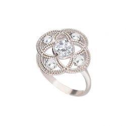 Srebrny pierścionek z białą cyrkonią i kryształami Swarovski PK 1878