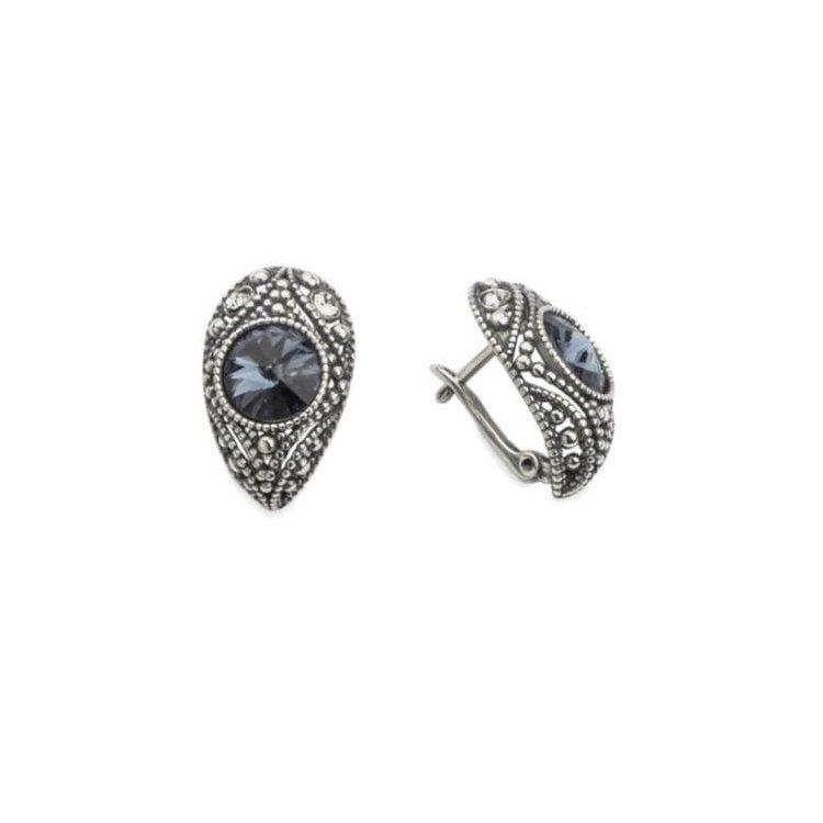 Kolczyki srebrne oksydowane Swarovski Crystal K3 1828