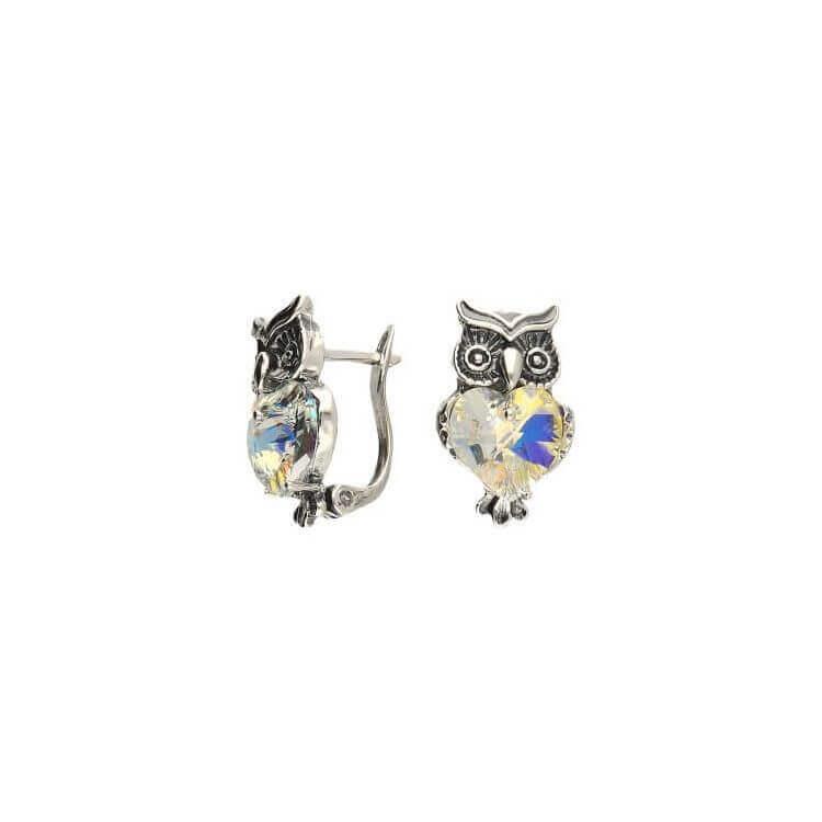 Srebrne kolczyki z kryształami Swarovskiego SOWA K3 1702
