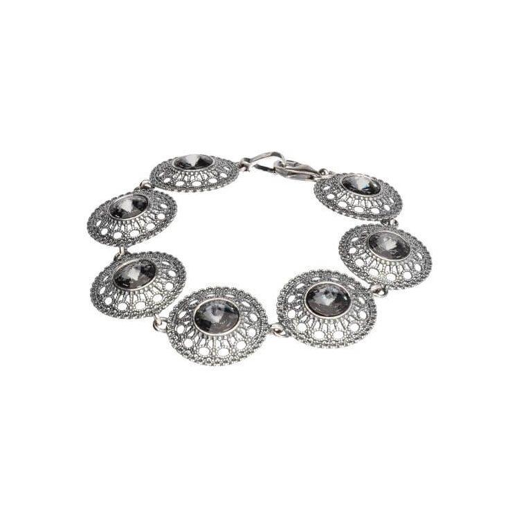 Bransoletka srebrna oksydowana Swarovski L 1719